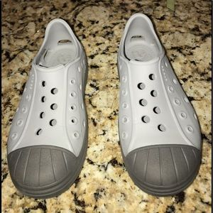 Crocs Gray And Black Slip Ons Size 12